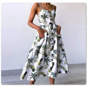 Cute! Summer ☀️ Floral Leaf Maxi Sundress Dress